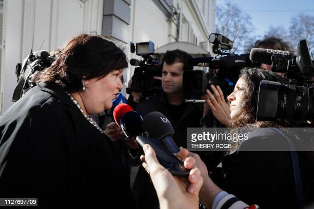 Minister of Health Social Affairs Asylum Policy and Migration Maggie De Block leaves a meeting of the Group of 10 a selection of social partners...