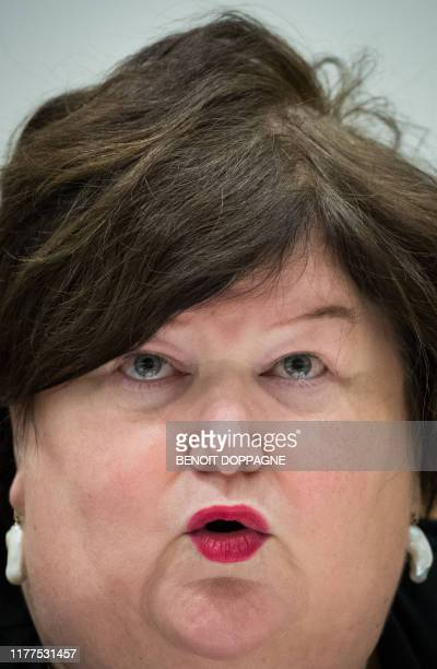 Minister of Health Social Affairs Asylum Policy and Migration Maggie De Block delivers a speech at a hearing of the parliamentary commission for...