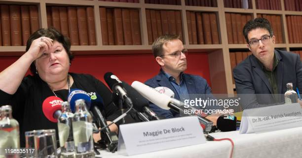 Minister of Health Social Affairs Asylum Policy and Migration Maggie De Block Lieutenant Colonel Patrick Soentjes head infectious diseases at the...