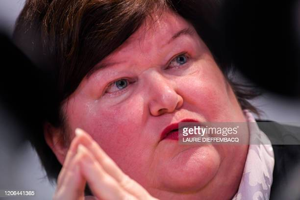 Minister of Health Social Affairs Asylum Policy and Migration Maggie De Block pictured during a meeting of the National Safety Council consisting of...
