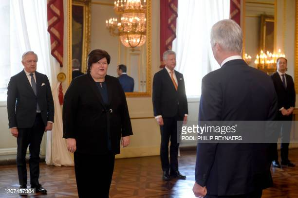 Minister of Health Social Affairs Asylum Policy and Migration Maggie De Block and King Philippe Filip of Belgium pictured during the oath ceremony at...