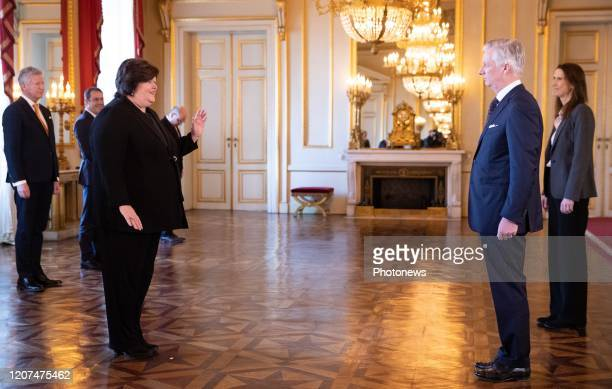 Minister of Health Social Affairs Asylum Policy and Migration Maggie De Block King Philippe Filip of Belgium and Belgian Prime Minister Sophie Wilmes...