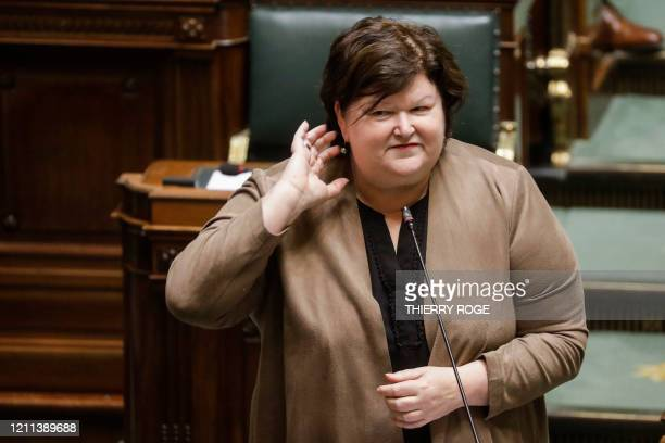 Minister of Health Social Affairs Asylum Policy and Migration Maggie De Block pictured during a plenary session of the chamber at the federal...