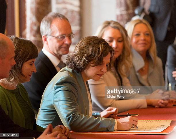 Minister of Health Welfare and Sport Edith Schippers signs the Act of Abdication of Queen Beatrix of the Netherlands in the Moseszaal at the Royal...