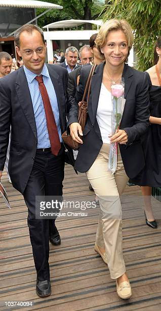 Minister of Higher Education and Research Valerie Pecresse and her husband Jerome are seen at the French Open on June 6, 2010 in Paris, France.
