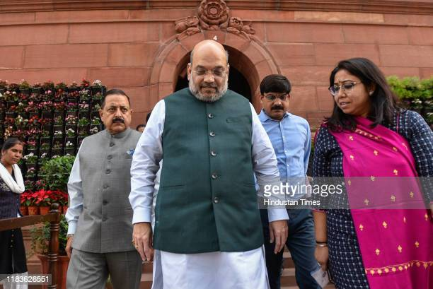 Minister of Home Affairs Amit Shah seen during the winter session of Parliament on November 20 2019 in New Delhi India The Rajya Sabha discussed the...