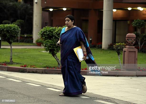 Minister of Human Resource Development Smriti Irani during the Parliament Budget Session on March 16 2016 in New Delhi India Just moments before it...