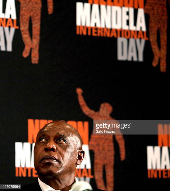 Minister of Human Settlements Tokyo Sexwale at a press conference at the Nelson Mandela Foundation on June 20 2011 in Johannesburg South Africa...