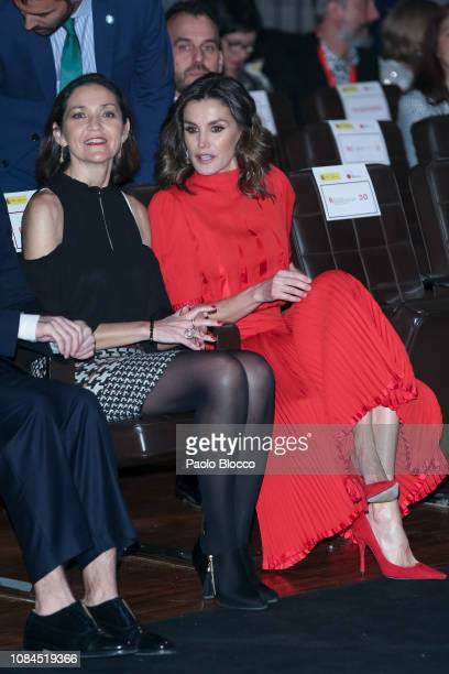 Minister of Industry Maria Reyes Maroto and Queen Letizia of Spain attends the National Fashion awards at Museo del Traje on December 19 2018 in...
