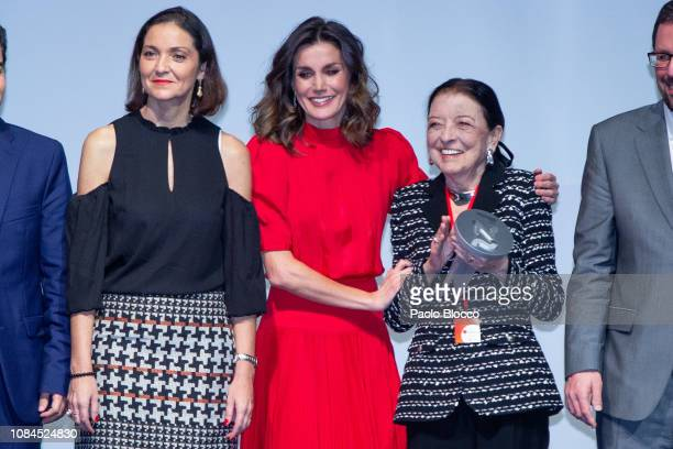 Minister of Industry Maria Reyes Maroto Queen Letizia of Spain and Leonor Perez Pita attend the National Fashion awards at Museo del Traje on...