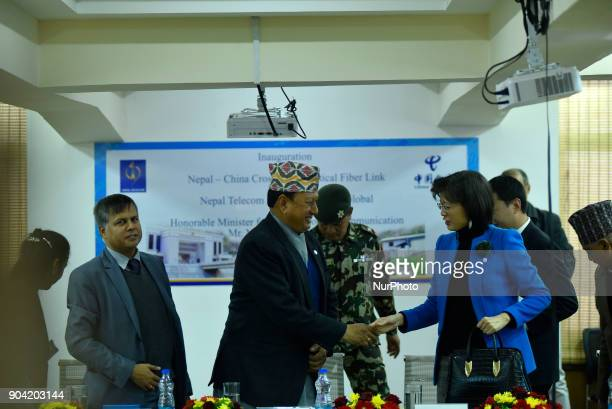 Minister of Information amp Communication Mohan Bahadur Basnet and Chinese Ambassador to Nepal Yu Hong shake hand after Inauguration of Nepal China...