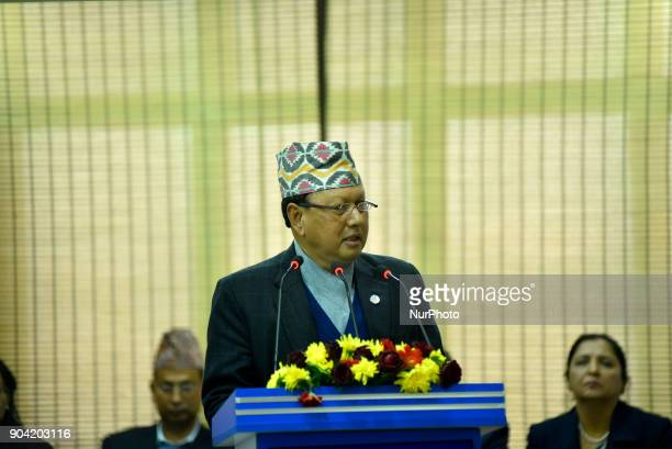 Minister of Information amp Communication Mohan Bahadur Basnet giving speech during Inauguration of Nepal China Crossborder Optical Fiber Link...