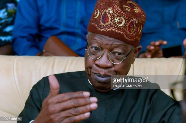 Minister of Information and Culture Lai Mohammed speaks during the Argungu fishing and cultural festival at Argungu Town Kebbi State in northwestern...
