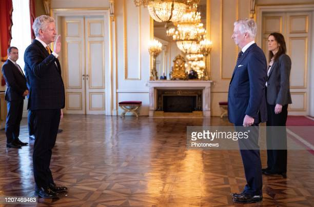 Minister of Interior Affairs and Foreign Trade Pieter De Crem King Philippe Filip of Belgium and Belgian Prime Minister Sophie Wilmes pictured during...