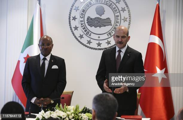 Minister of Interior of Turkey Suleyman Soylu speaks beside Burundian Minister of Public Security and Disaster Management Alain Guillaume Bunyoni...