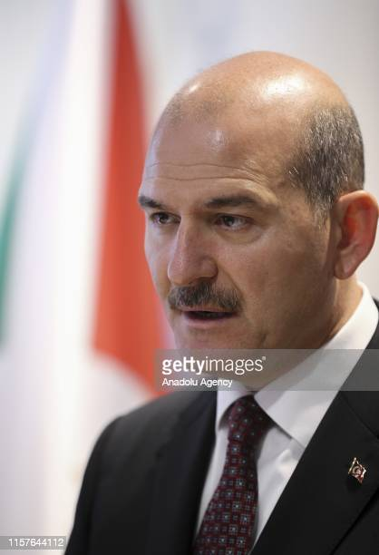 Minister of Interior of Turkey Suleyman Soylu speaks during his meeting with Burundian Minister of Public Security and Disaster Management Alain...