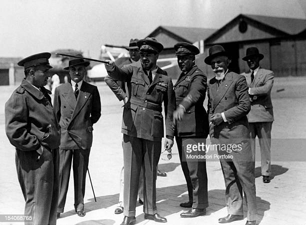 Minister of Italian Air Force Italo Balbo talking with officers of the Italian army Among them there is Galeazzo Ciano foreign minister and general...
