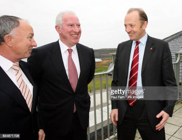 Minister of Justice Dermot Ahern TD An Garda Siochana Commissioner Fachtna Murphy and PSNI Chief Constable Sir Hugh Orde at a cross border organised...
