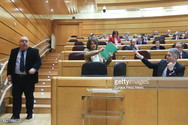 Minister of Justice Dolores Delgado and Interior minister Fernando GrandeMarlaska are seen at a plenary session in the Senate on unemployment state...