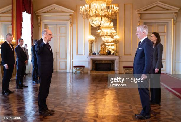 Minister of Justice Koen Geens King Philippe Filip of Belgium and Belgian Prime Minister Sophie Wilmes pictured during the oath ceremony at the Royal...