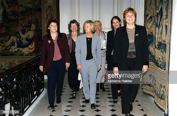 Minister of Labor Martine Aubry with other French women ministers From left are Aubry unidentified woman Elisabeth Guigou unidentified woman...