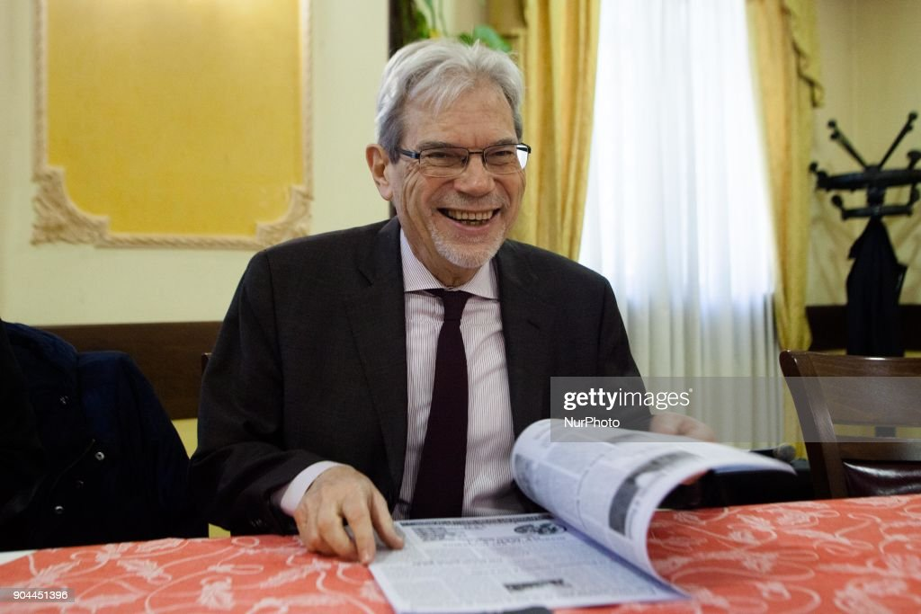 Minister of Mezzogiorno Claudio De Vincenti, attends a press conference with Fulvio Bonavitacola (not in picture), Vice President of Region Campania, in Naples, Italy on January 12, 2018 during election campaing of Democratic Party for Voting of the March 04, 2018.