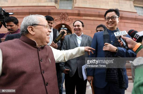 Minister of Micro Small and Medium Enterprises Kalraj Mishra with Union Minister of State for Home Affairs Kiren Rijiju during the Parliament Winter...