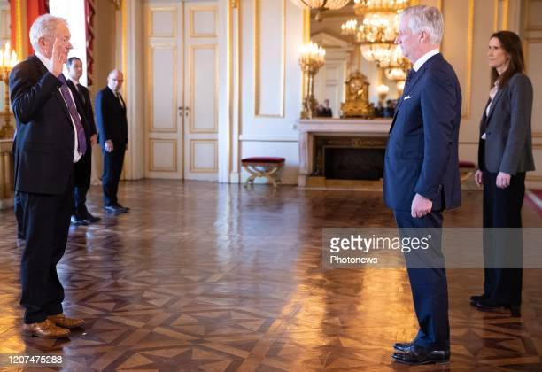 Minister of Mobility Francois Bellot King Philippe Filip of Belgium and Belgian Prime Minister Sophie Wilmes pictured during the oath ceremony at the...