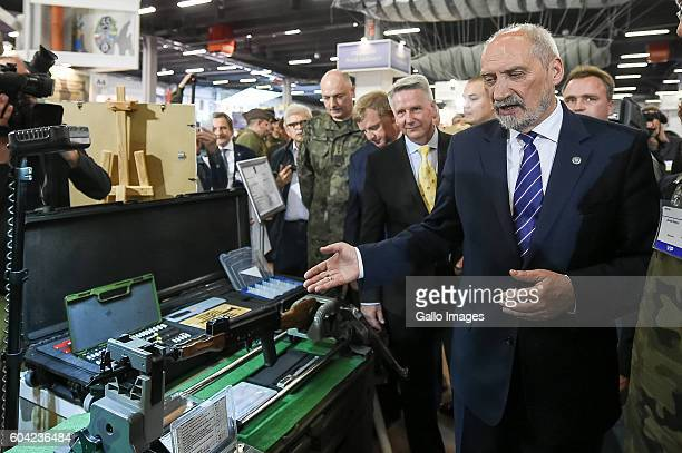 Minister of National Defence Antoni Macierewicz attends the XXIV International Defence Industry Exhibition on September 06 2016 at Targi Kielce in...