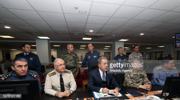 Minister of National Defence of Turkey Hulusi Akar follows the air operation conducted to neutralize PKK/KCK/PYD/YPG and other terrorist elements in...