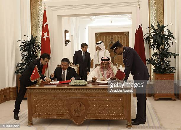 Minister of National Defence of Turkey Ismet Yilmaz and Minister of Foreign Affairs of Qatar Khalid bin Mohammad Al Attiyah sign bilateral agreements...