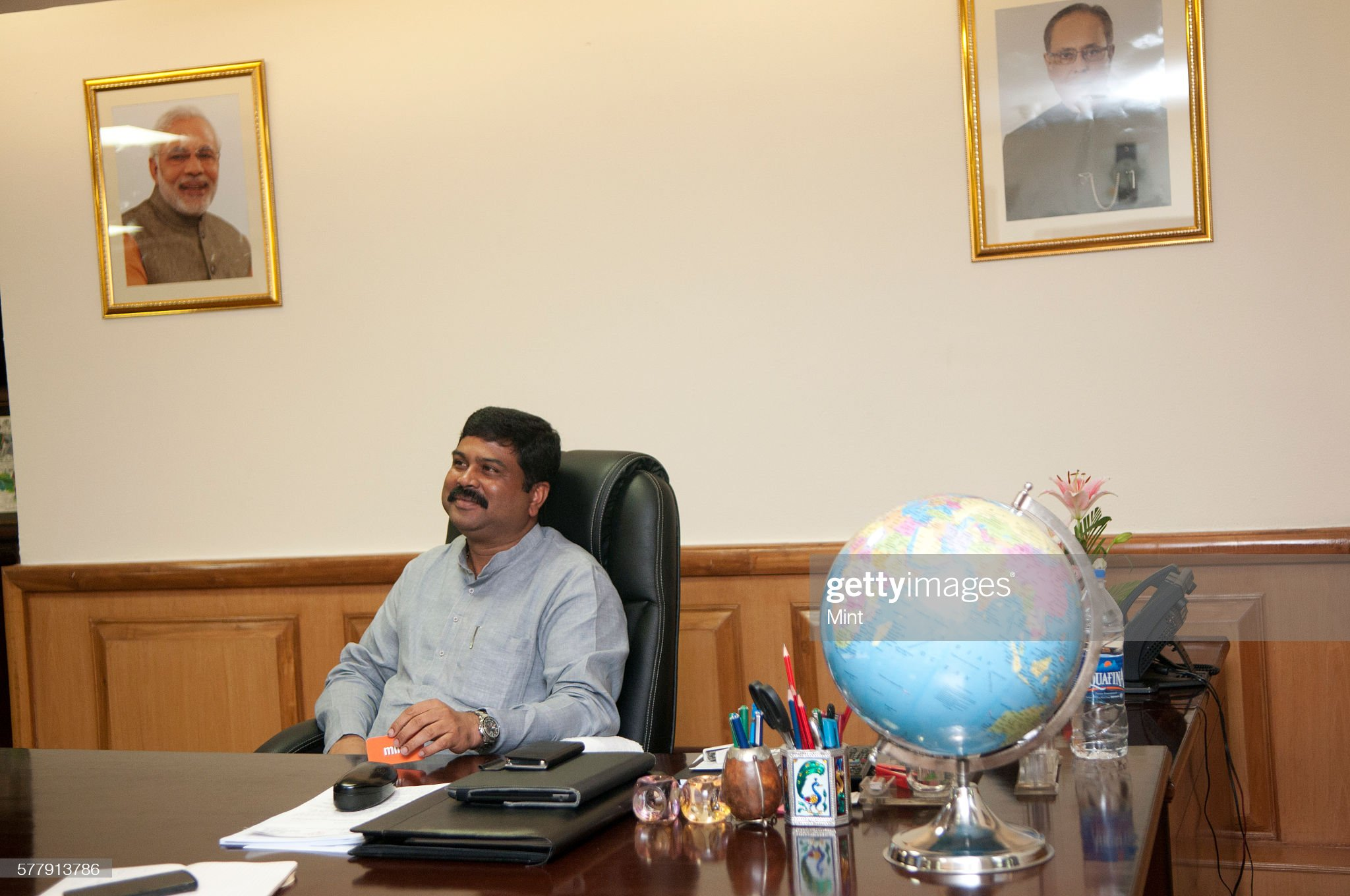 Mint Exclusive- Minister of Oil and Gas- Dharmendra Pradhan Poses for Profile Shoot : News Photo