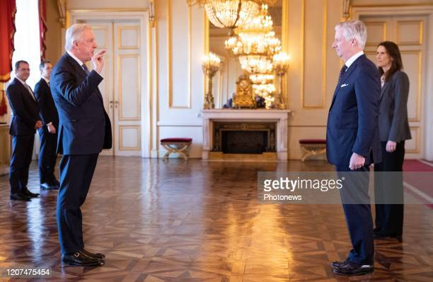 Minister of Pensions Daniel Bacquelaine King Philippe Filip of Belgium and Belgian Prime Minister Sophie Wilmes pictured during the oath ceremony at...
