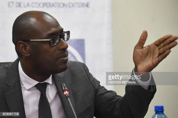 Minister of Planning and External Cooperation Aviol Fleurant speaks to the media after a meeting with Oxfam Regional Director for Latin America and...