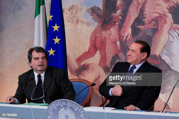 Minister of Public Functions Renato Brunetta and Italian Prime Minister Silvio Berlusconi during the Holds Press Conference on October 9 2009 in Roma...