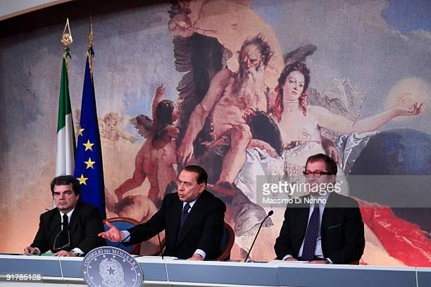 Minister of Public Functions Renato Brunetta and Italian Prime Minister Silvio Berlusconi Italian Interior Minister Roberto Maroni during the Holds...