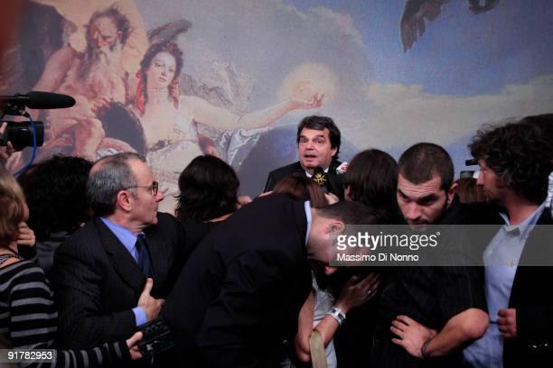 Minister of Public Functions Renato Brunetta attends at the Holds Press Conference on October 9 2009 in Roma Italy Italian Prime Minister Silvio...