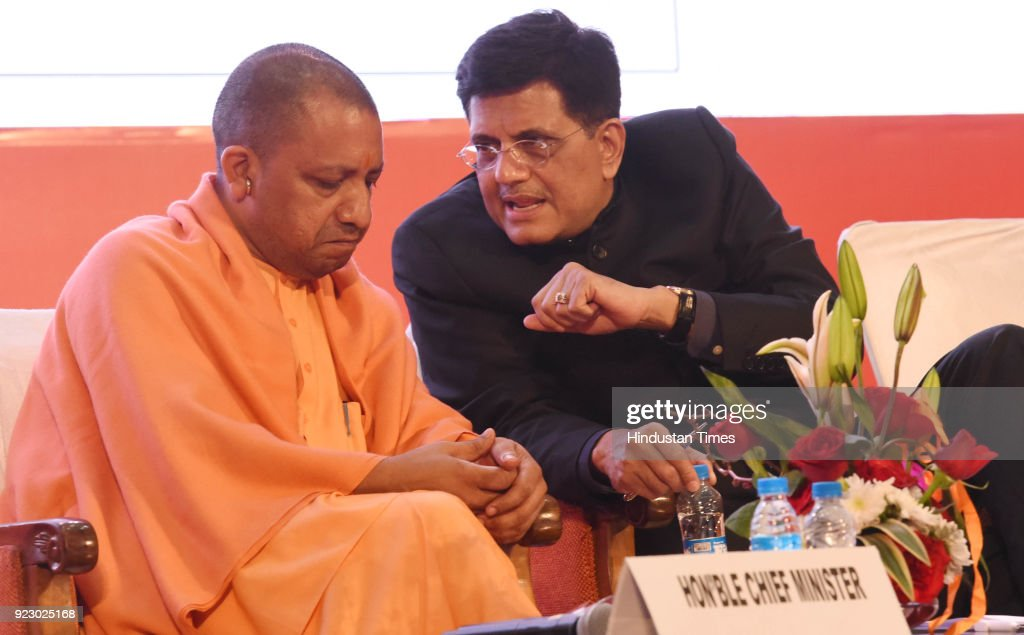 Minister of Railways and Coal Piyush Goyal with UP Chief Minister Yogi Adityanath during the last day session of the Uttar Pradesh Investors Summit-2018 at the Indira Gandhi Pratishthan on February 22, 2018 in Lucknow, India. During UP Investors Summit, the state has attracted memorandum of understanding (MoUs) worth a whopping Rs 4.28 lakh crore.