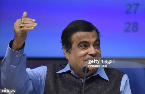 Minister of Road Transport Highways Shipping and Water Resources River Development and Ganga Rejuvenation Nitin Gadkari with officials address a...