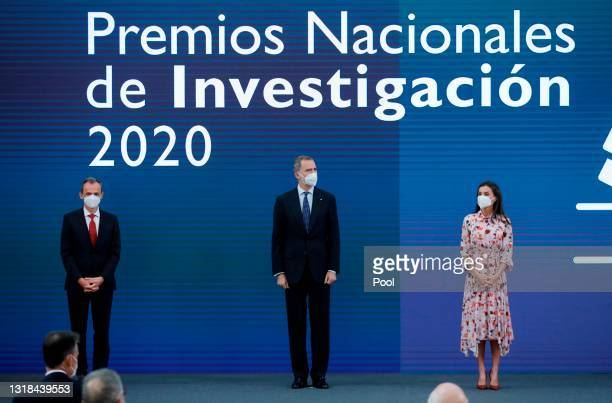 Minister of Science and Innovation Pedro Duque, King Felipe VI of Spain and Queen Letizia of Spain attend the delivery of National Research Awards...