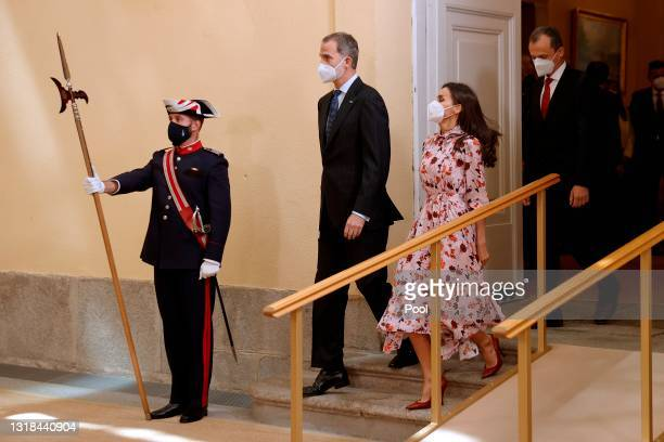 Minister of Science and Innovation Pedro Duque King Felipe VI of Spain and Queen Letizia of Spain attend the delivery of National Research Awards...