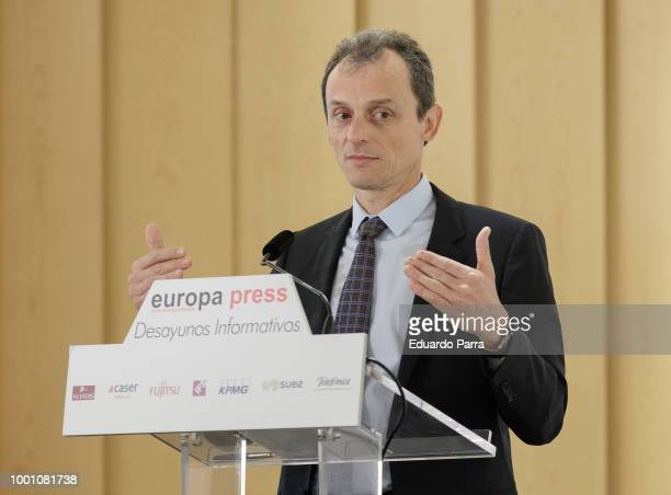 Minister of Science Innovation and Universities Pedro Duque attends a press conference at Hesperia hotel on July 18 2018 in Madrid Spain The minister...