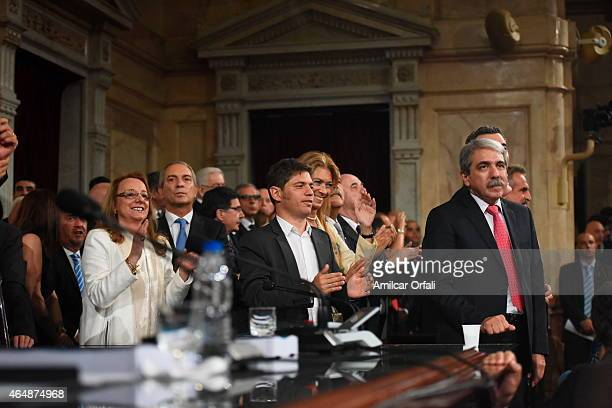 Minister of Social Development Alicia Kirchner Minister of Economy Axel Kiciloff and Chief of the Cabinet of Ministers Anibal Fernandez during the...