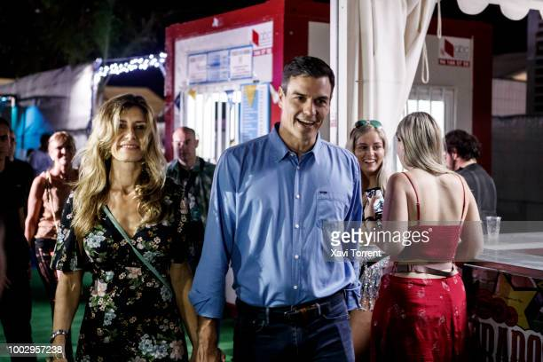 Minister of Spain Pedro Sanchez and his wife Maria Begona attend The Killers concert during day 2 of Festival Internacional de Benicassim on July 20...