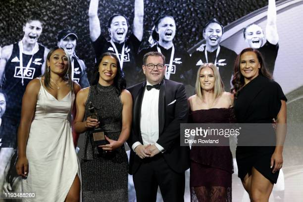 Minister of Sport Grant Robertson presents the adidas New Zealand Team of the Year to Black Ferns Sevens during the New Zealand Rugby Awards at the...