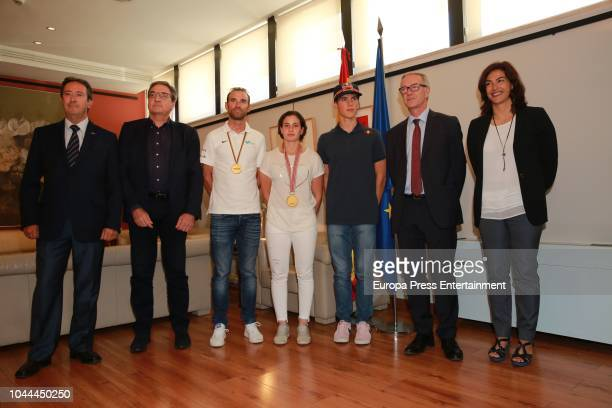 Minister of Sport Jose Guirao and Maria Jose Rienda receive Alejandro Valverde World Cycling ChampionAna Carrasco first female World Motorcycle...