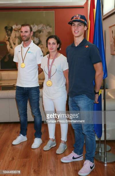 Minister of Sport Jose Guirao receives Alejandro Valverde World Cycling Champion Ana Carrasco first female World Motorcycle Champion and Jorge Prado...