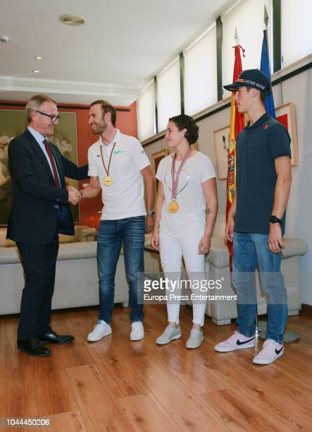 Minister of Sport Jose Guirao receives Alejandro Valverde World Cycling ChampionAna Carrasco first female World Motorcycle Champion and Jorge Prado...