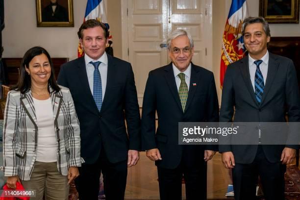 Minister of Sports Pauline Kantor President of Chile Sebastián Piñera President of CONMEBOL Alejandro Domínguez and President of ANFP Sebastián...