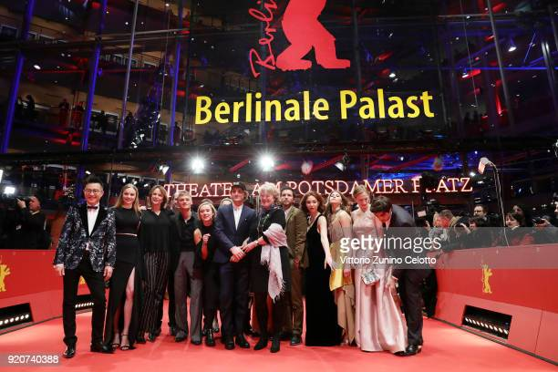 Minister of State and Federal Government Commissioner for Culture and the Media Monika Gruetters pose with Berlinale shooting stars Irakli Kvirikadze...